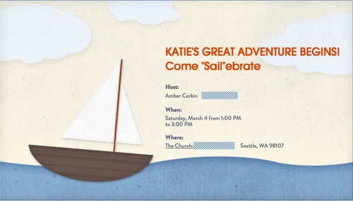 Invitation. Mom's great adventure begins! Come Sail-ebrate. Sailing baby shower inspiration with a nautical theme. Food, party decorations, invitation, games, + gift ideas for an adventure sailing girl's baby shower.