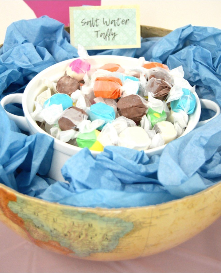 Salt Water Taffy. Themed Nautical food. Sailing baby shower inspiration with a nautical theme. Food, party decorations, invitation, games, + gift ideas for an adventure sailing girl's baby shower.