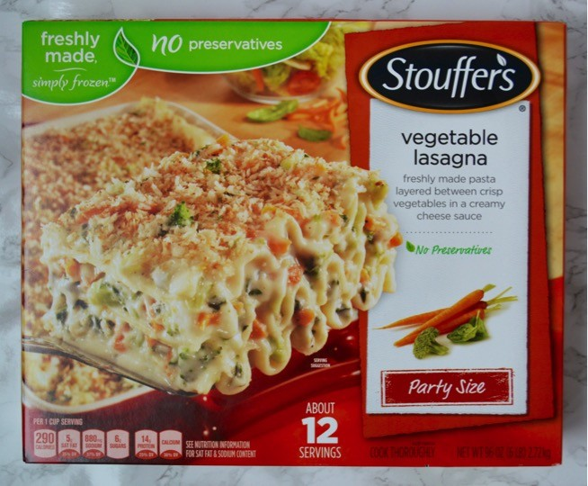 Nestlé Stouffer's Vegetable Lasagna Party Size | Easy Easter dinner menu for the family. Fresh, springtime dinner with vegetable lasagna main course, strawberry spinach salad, rolls, + milkshake dessert.