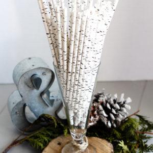woodland themed baby shower birch straws