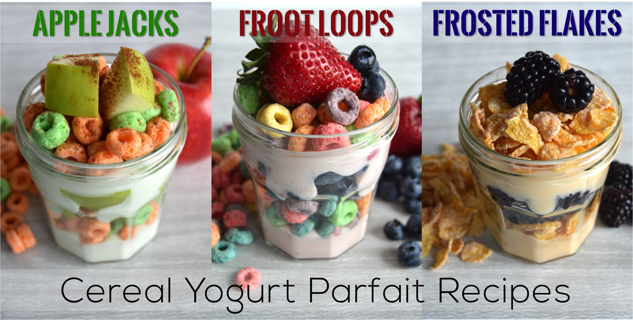 3 Cereal Yogurt Parfait Recipes using Kellogg cereals | Breakfast recipe for a cereal yogurt parfait with fruit. Ideas for Kellogg cereal parfait: Apple Jacks, Froot Loops, and Frosted Flakes. Fun breakfast idea!