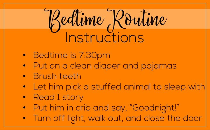 A list of things to leave the babysitter if they're watching a toddler. Babysitter essentials include: bedtime or nap time routine instructions.