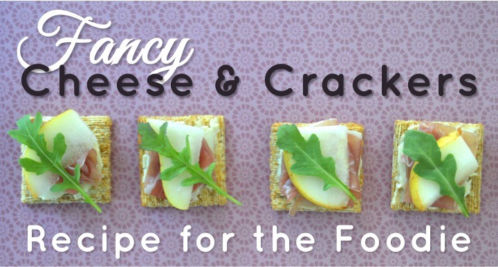 Fancy cheese and crackers recipe for the foodie with TRISCUIT Crackers, creamy cheese, prosciutto, pear, and arugula leaves. Perfect appetizer or snack.