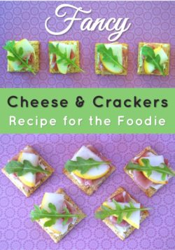 Fancy cheese and crackers recipe for the foodie with TRISCUIT Crackers, creamy cheese spread, prosciutto, pear, and arugula leaves. Perfect appetizer or snack. Delicious food to make for a party or just for fun with the kids.