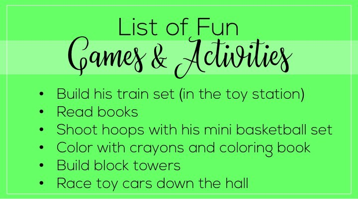 A list of things to leave the babysitter if they're watching a toddler. Babysitter essentials include: a list of fun games and activities.