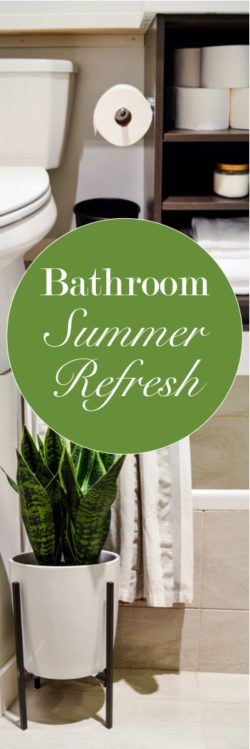 Bathroom summer refresh with summery home decor ideas. A relaxing + classy bathroom sanctuary with an upscale, simple, contemporary, + modern design. By adding a few details, I was able to create a perfectly classy summer sanctuary in my bathroom. I share 5 bathroom summer refresh tips with pictures! Bathroom tour. #MegaSummerRefresh #CollectiveBias #ad