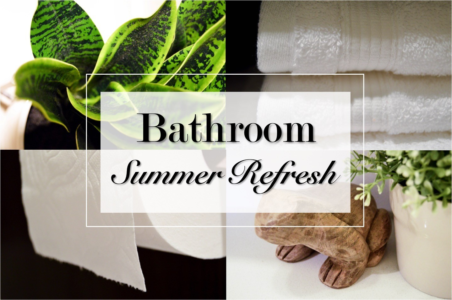 Bathroom summer refresh with summery home decor ideas. A relaxing + classy bathroom sanctuary with an upscale, simple, contemporary, + modern design. By adding a few details, I was able to create a perfectly classy summer sanctuary in my bathroom. I share 5 bathroom summer refresh tips with pictures! Bathroom tour.