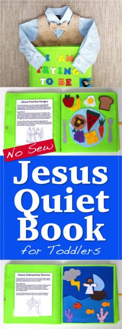 Toddler busy, quiet book for church. This no sew Jesus Quiet Book full of fun activities, Jesus Bible stories, and scriptures just requires some felt, hot glue, and a few other supplies. (No sewing skills needed!) Great for LDS / Mormon moms looking for a way to entertain kids during sacrament meeting and keep them reverant.