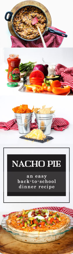 Nacho Pie is a tasty back-to-school dinner recipe the whole family will love. It's a perfect meal for parents & kids to slow down & enjoy on hectic school nights. Easy, quick, and yummy!