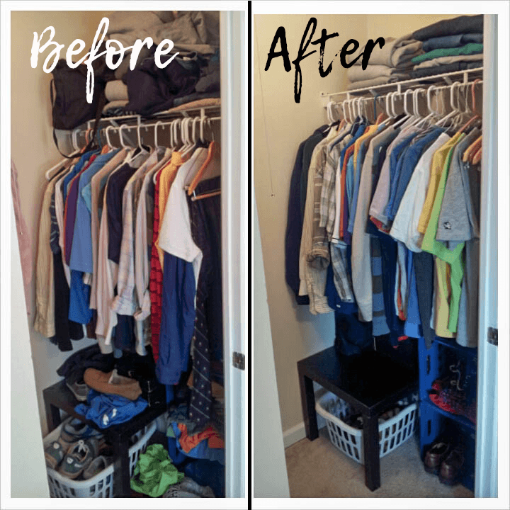 Closet organizing before and after