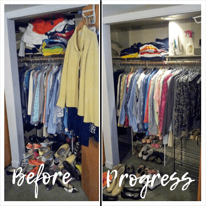 Purging clothes closet before and after