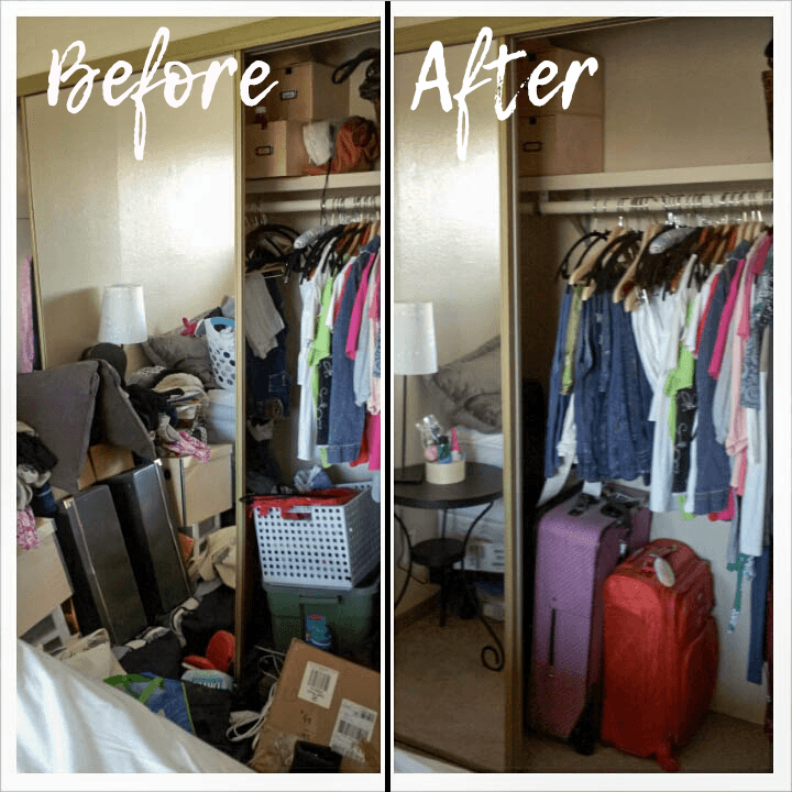 Bedroom and closet before and after purging and organizing