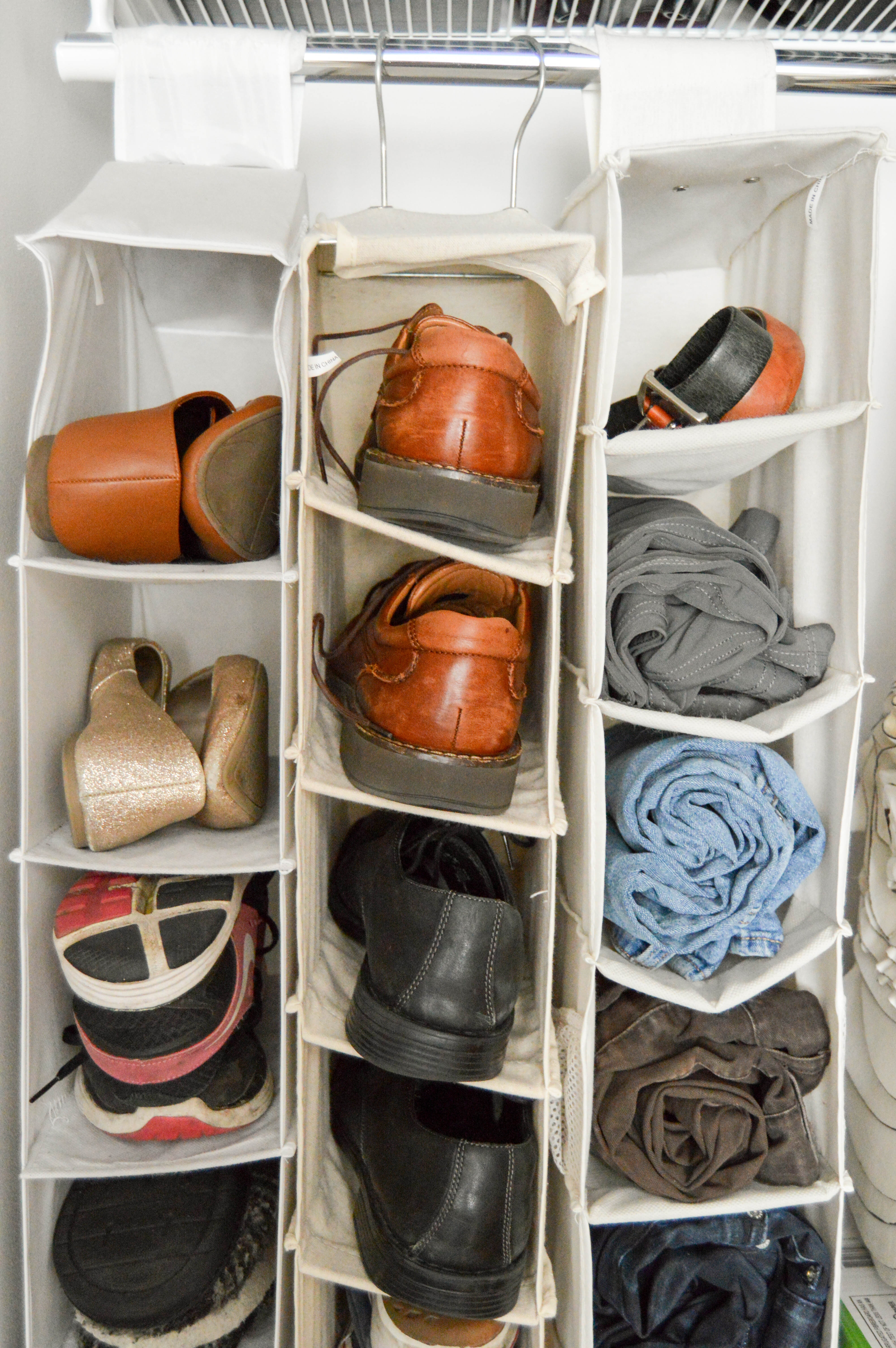 Tips for how to purge and organize your home like a pro. Organizing steps: categorizing and finding homes for things. 5 home organizing rules to live by. Shoe organizer hack