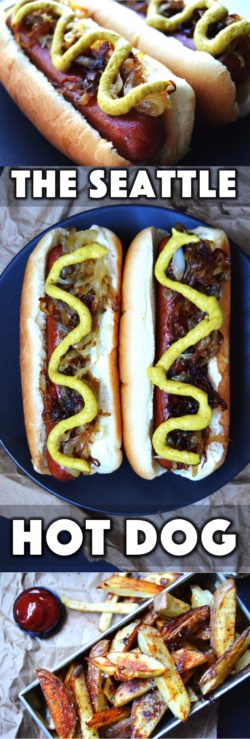 We're sharing our family's take on the Seattle hot dog recipe. Ingredients and directions for how to make the Seattle dog and baked red potato french fries.