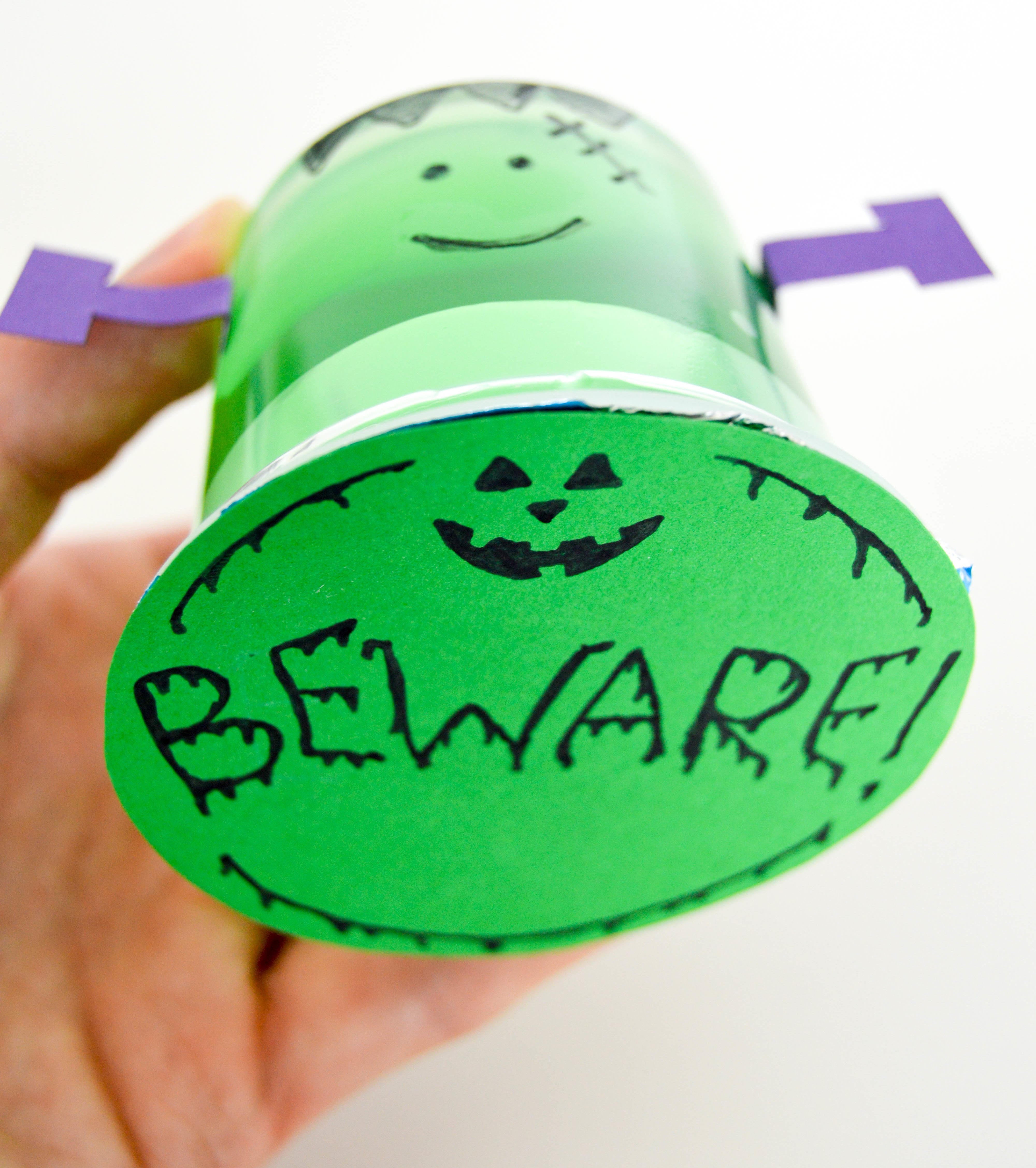 Halloween Pudding Cups & Jello Cups | Frankenstein Beware! green jello-cup