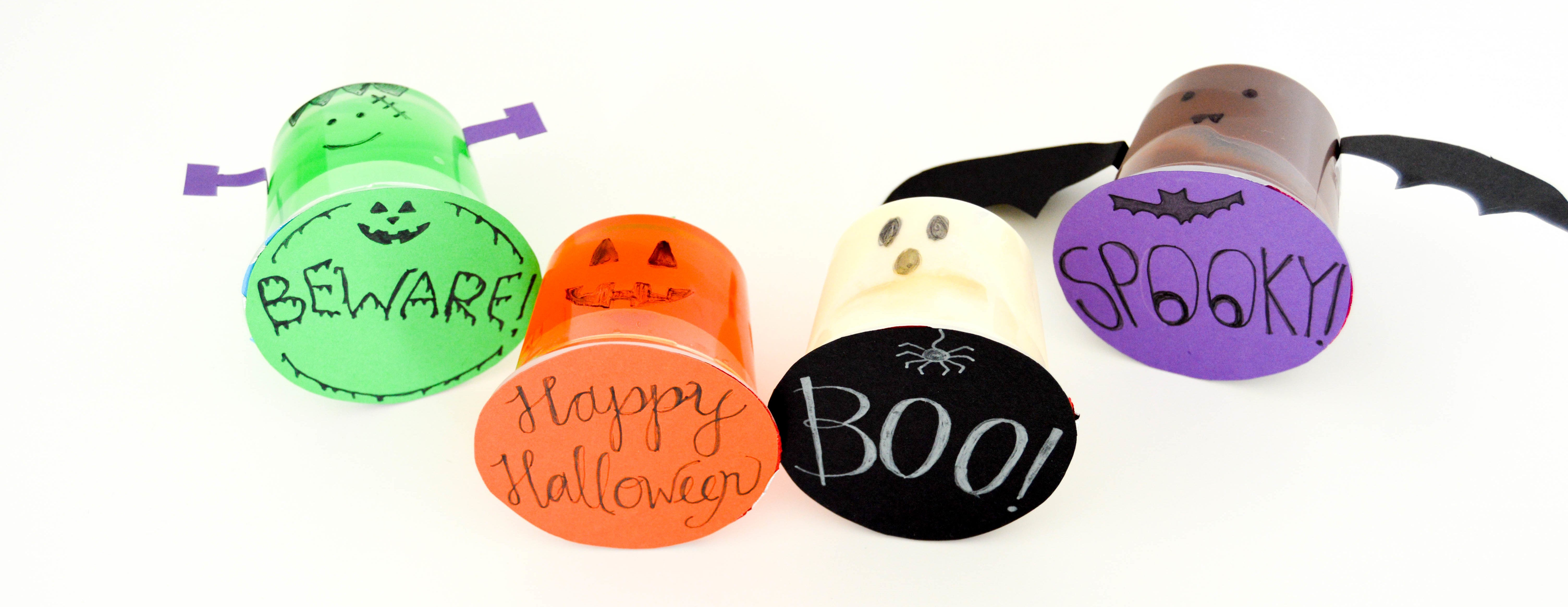 Halloween Pudding Cups & Jello Cups | Cute and easy Halloween craft characters. I made a ghost, pumpkin, bat, and Frankenstein out of my pudding cup and jell-o cup.
