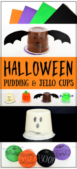 Halloween Pudding Cups & Jello Cups | Cute and easy Halloween craft idea that makes the perfect Halloween treat for school, a party, a party favor, or a gift. Kids will love these Halloween characters. I made a ghost, pumpkin, bat, and Frankenstein out of my pudding cup and jell-o cup.