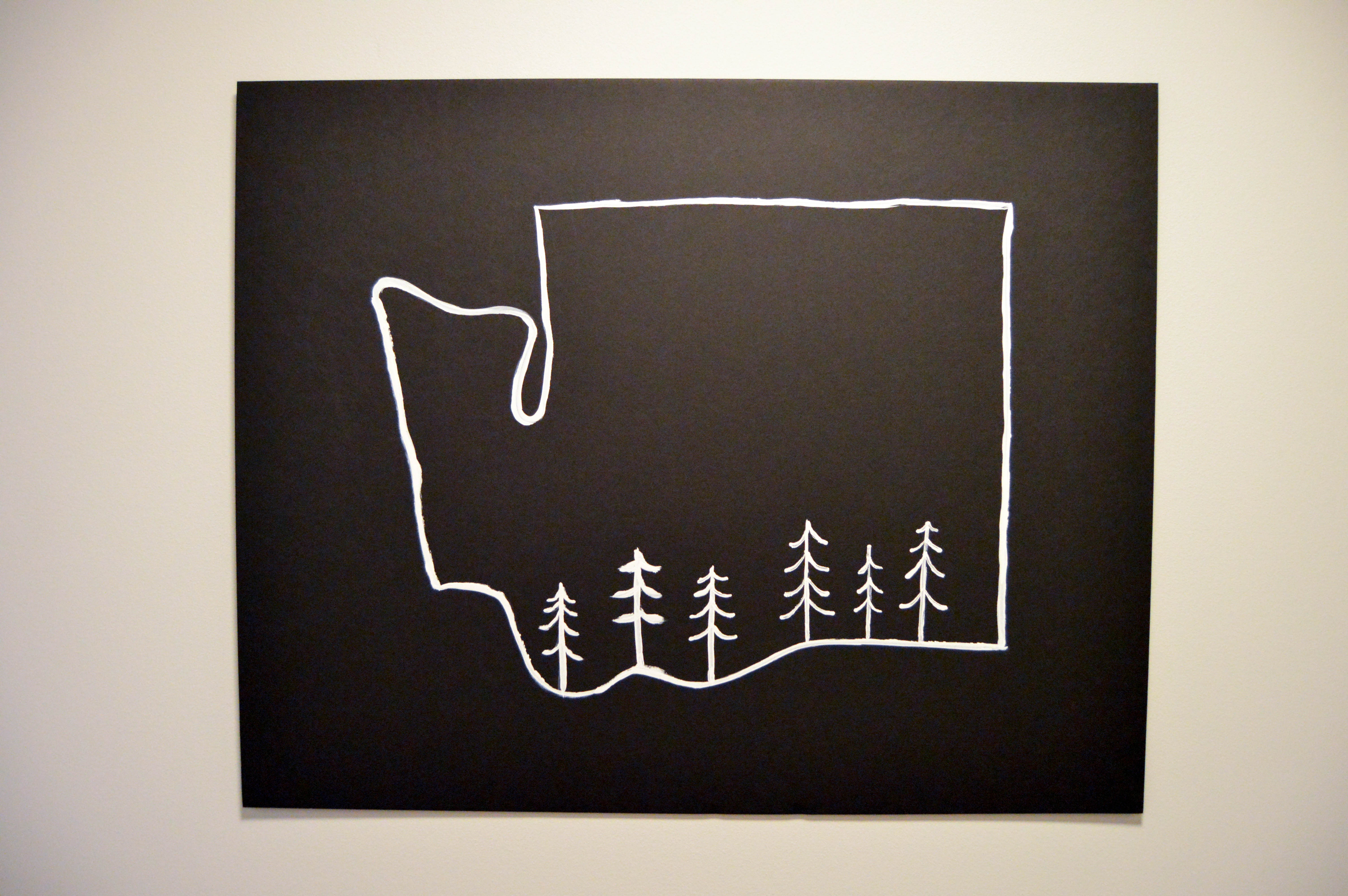 Washington State Outline Art - Small PNW (Pacific Northwest) outdoor theme nursery with mountains + animals for our baby boy. Mountain mural and paint chip art tutorial for woodland feel.