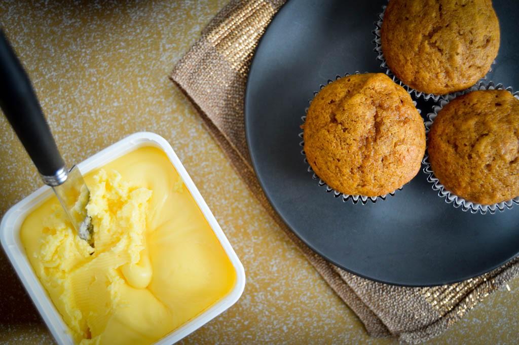 Moist Pumpkin Muffins with Gold 'n Soft