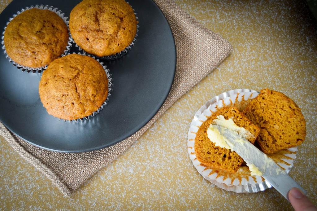 Gold 'n Soft buttery smear on Moist Pumpkin Muffins