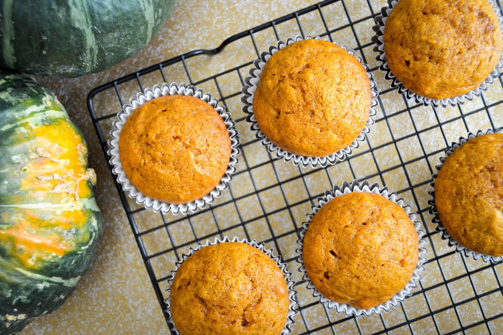 Moist Pumpkin Muffins cooling rack - Ingredients list and step by step directions to bake the best moist pumpkin muffins recipe. A quick and easy breakfast for kids to take on-the-go.