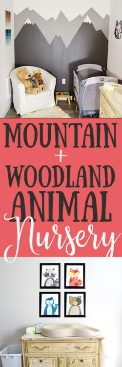 Mountain and Woodland Animal Themed Nursery | Small PNW (Pacific Northwest) outdoor theme nursery with mountains + animals for our baby boy. Mountain mural and paint chip art tutorial for woodland feel.