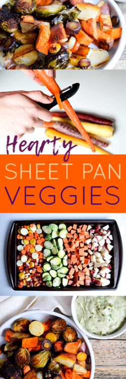 #ad | Recipe for baking hearty sheet pan veggies and avocado ranch dip recipe. Vegetable filled dinner idea for a healthy meal. @MazolaBrand corn oil and avocado substitutions. Rainbow carrots, brussels sprouts, sweet potato, and red potato veggies baked with corn oil and seasonings. Delicious, easy, healthy dinner dish. #simpleswap #CollectiveBias #SoFabFood