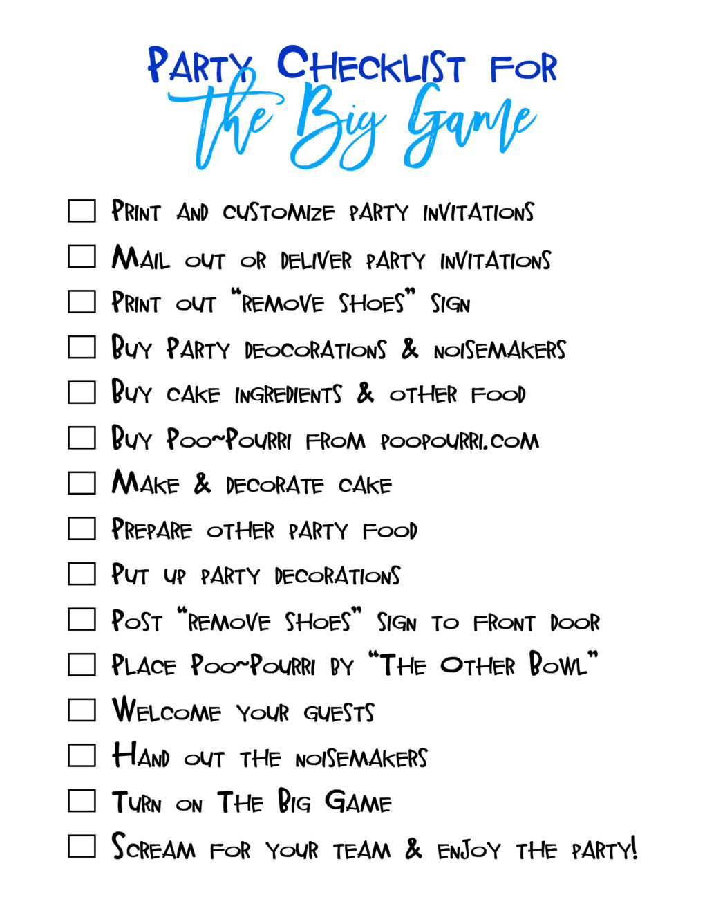 Party Checklist for the Big Game printable