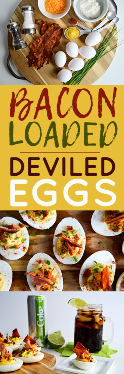 #AD | Yummy recipe for bacon loaded deviled eggs to pair with a chilled Diet Coke Ginger Lime. Makes a bacon bite explosion perfect for your next party! #ItsAMatch #DietCoke #CollectiveBias