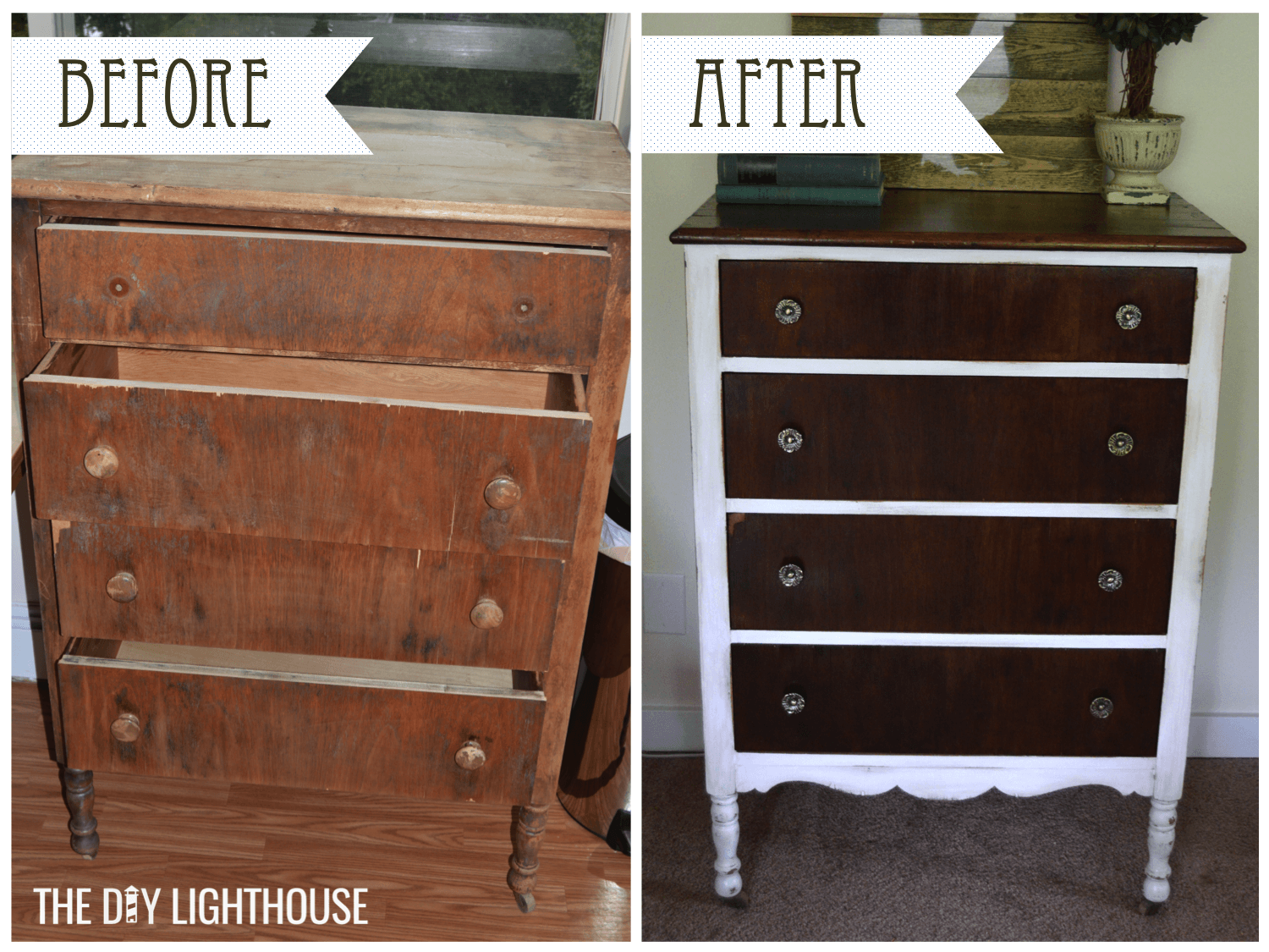 Good Before And After White Distressed Dresser Logo 2