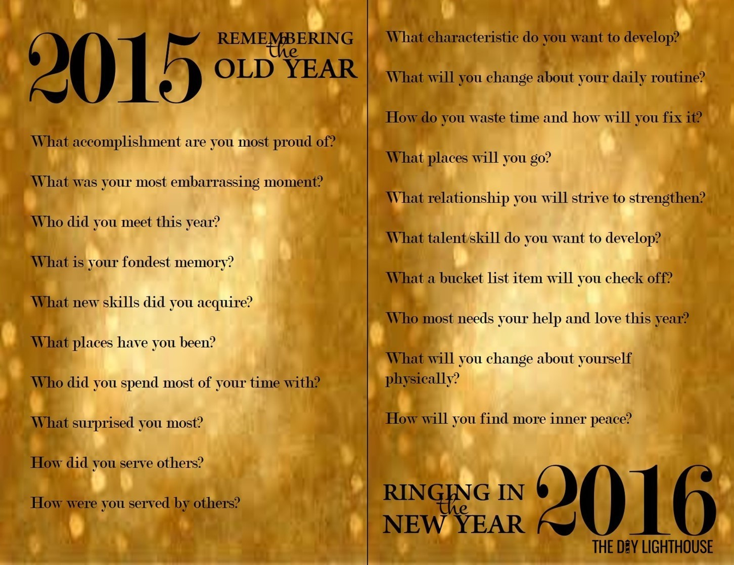 new year resolutions worksheet gold