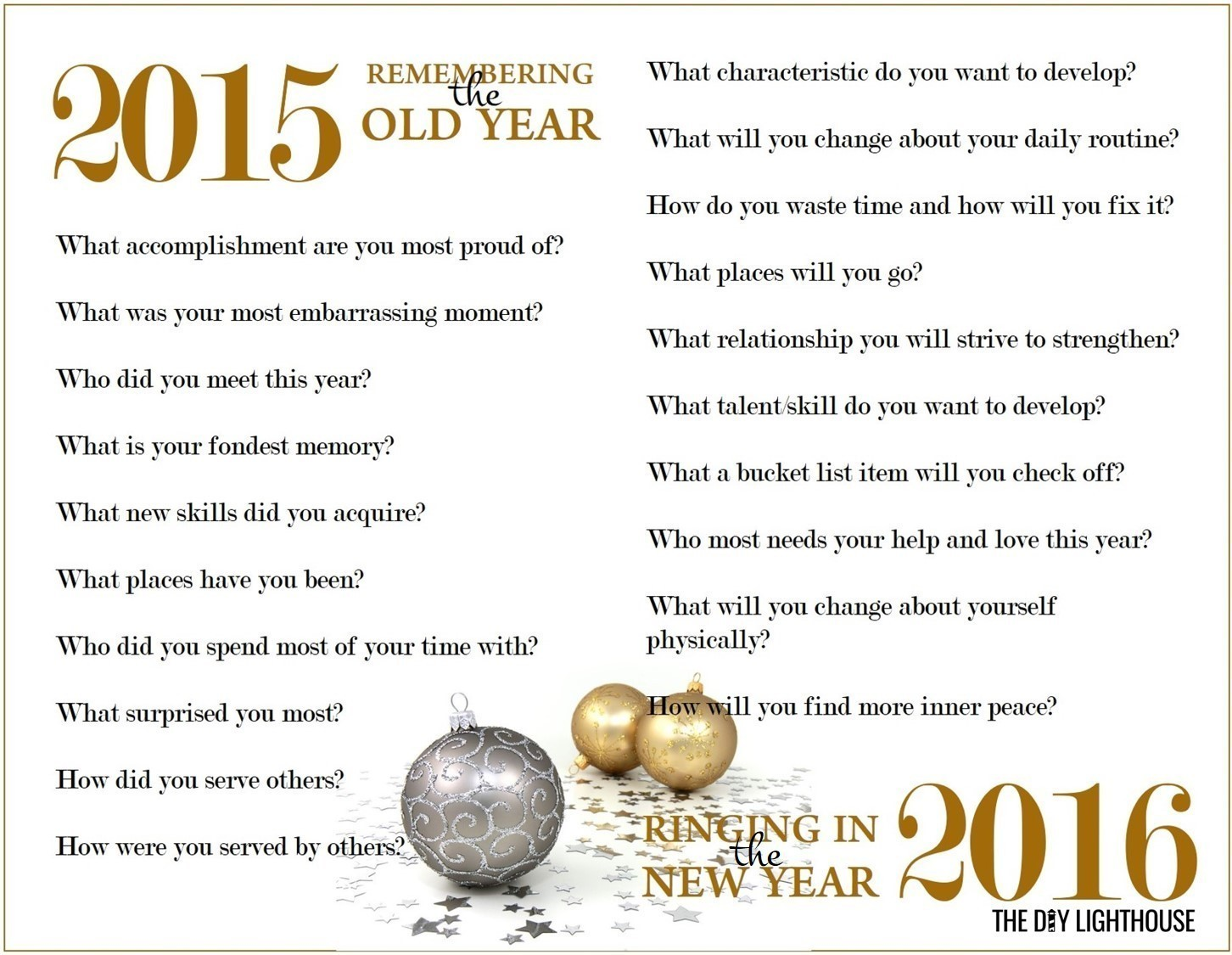 Free Printable: New Year Resolutions Worksheet - The DIY Lighthouse