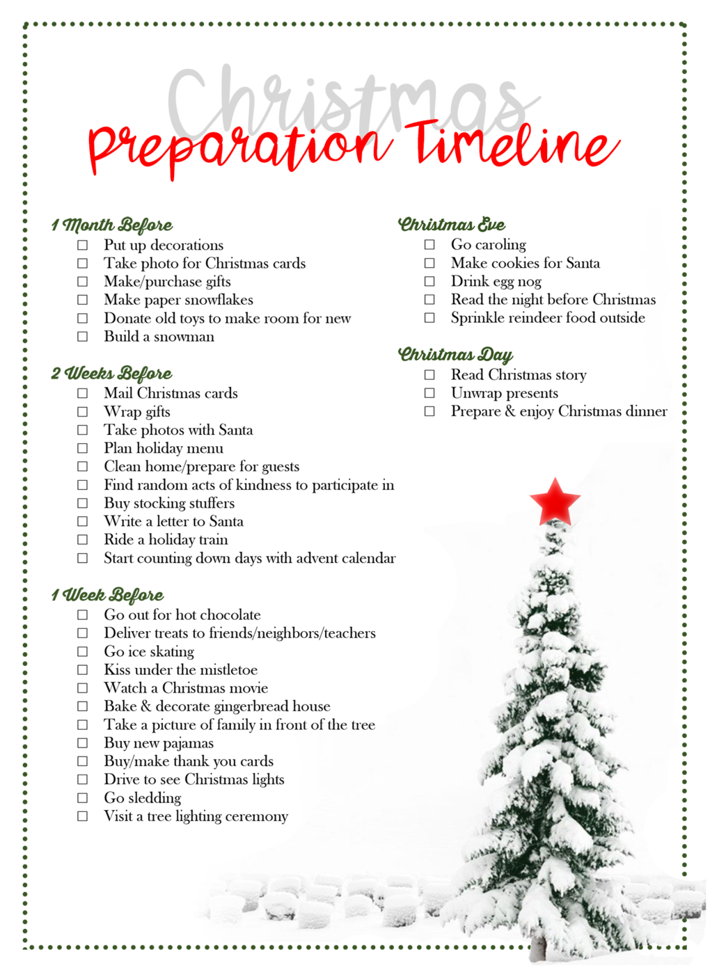 christmas preparation timeline  by laurel smith