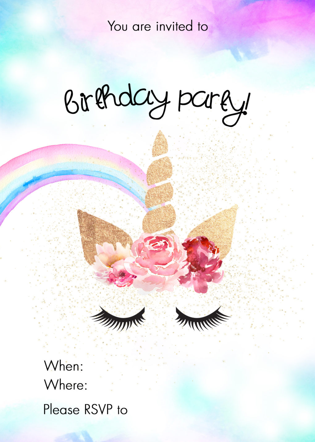 It is a picture of Crush Printable Unicorn Invitations