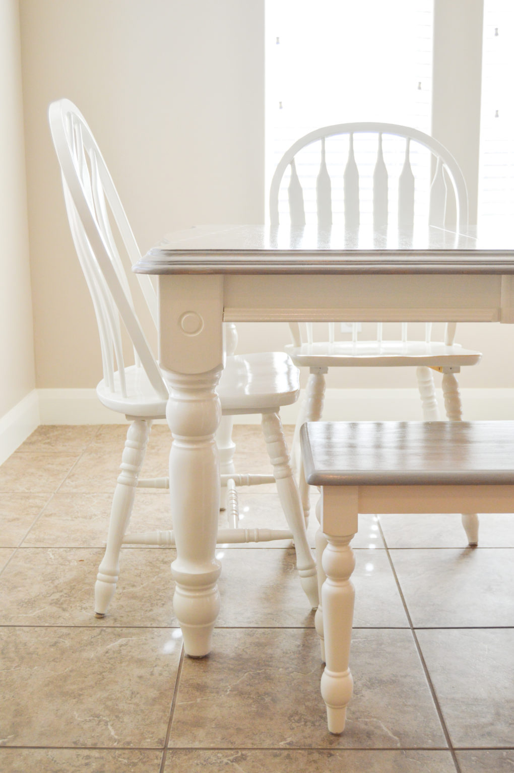 Kitchen Table Makeover Grey And White